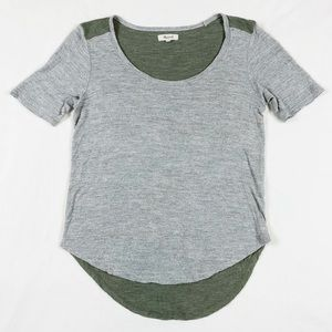 Madewell Soft Heather Gray & Olive Green T-Shirt